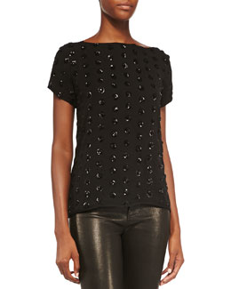 Milly Short-Sleeve Sequined Dot Tee