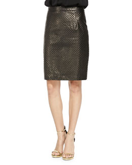 Milly Embossed Leather Pencil Skirt