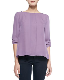 Alice + Olivia Coro Pintucked Roll-Sleeve Top