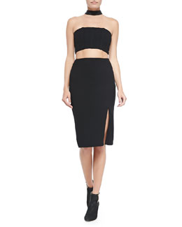 Alice + Olivia Evy Cutout Choker Pencil Dress