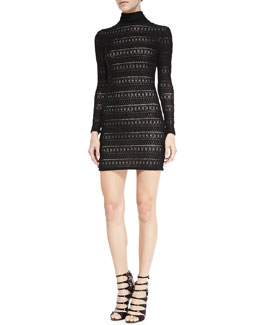 Alice + Olivia Jerica Pattern-Stripe Mock-Neck Dress