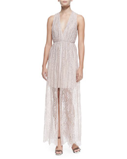 Alice + Olivia Julissa Halter-Neck Gathered Lace Dress