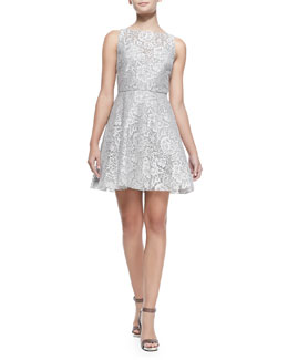Alice + Olivia Natalia Open-Back Lace A-Line Dress