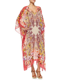 Etro Paisley Floral Silk Caftan, Pink