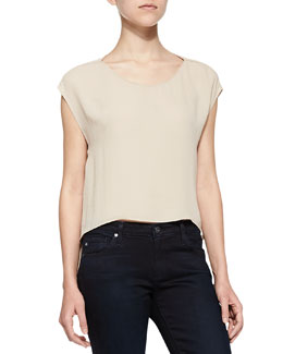 Alice + Olivia Cap-Sleeve Top with Cutout Back