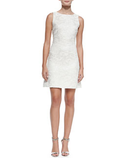 Alice + Olivia Whela Shimmery Jacquard A-Line Dress