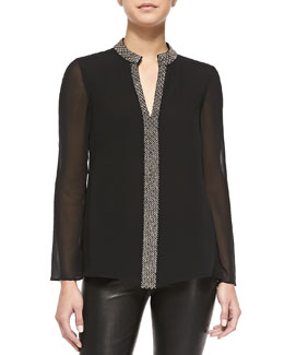 Tory Burch Lynn Long-Sleeve Tunic W/ Embellished Placket