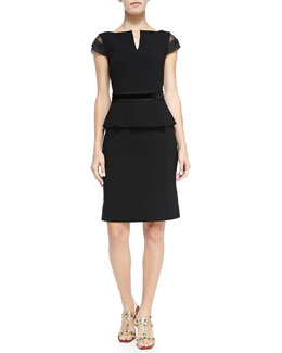 Tory Burch Ashley Cap-Sleeve Peplum Dress