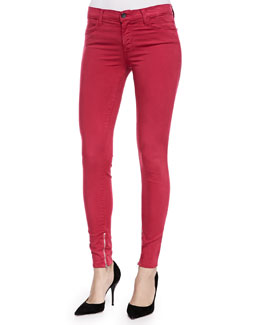 J Brand Jeans Mid-Rise Luxe Sateen Zip-Cuff Jeans, Redburn