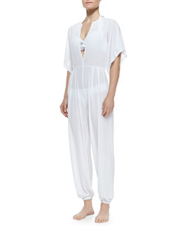 Norma Kamali Rectangle Jog Jumpsuit, White