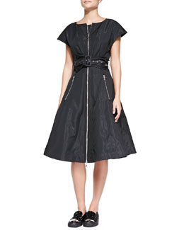 MARC by Marc Jacobs Orion Metallic Taffeta 1950s Dress, Black