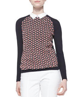 Tory Burch Carmine Feather-Stitch Sweater