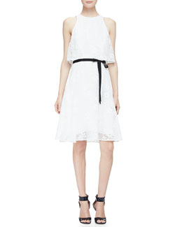 Monique Lhuillier Belted Tiered A-Line Mesh Dress