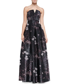 Alice + Olivia Kamila Printed Strapless Organza Gown