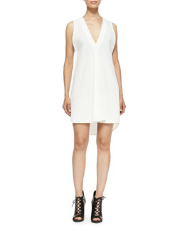 Derek Lam 10 Crosby Sleeveless V-Neck Dress W/ Underpinning
