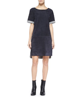 Vince Suede Kimono-Sleeve Shift Dress
