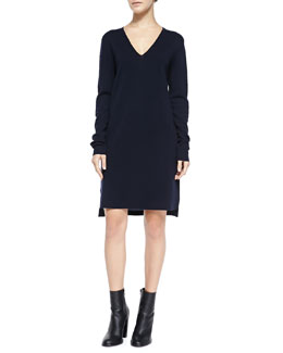 Vince Long-Sleeve Mixed Media Dress