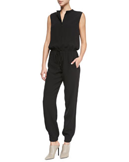 Vince Button-Front Drawstring Crepe Jumpsuit, Black
