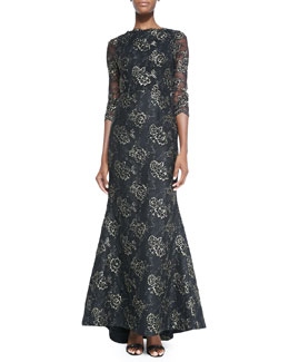Alice + Olivia Corina Lace Open-Back Gown