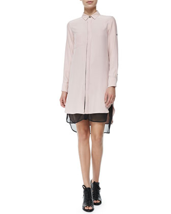 Rag & Bone The Shirtdress with Double-Layer Hem, Antique Rose