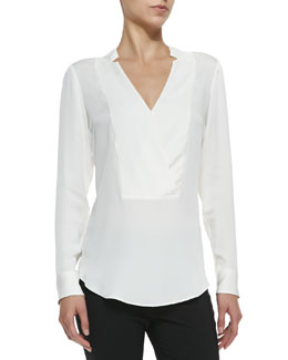 Theory Corbette Split-Neck Silk Blouse
