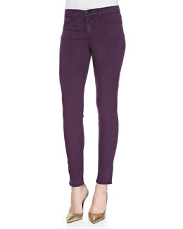 J Brand Jeans 485 Luxe Sateen Mid-Rise Super Skinny Jeans, Syrah