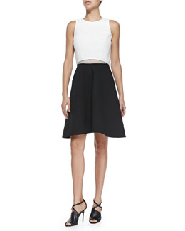 Derek Lam 10 Crosby Two-Tone A-Line Poplin Dress