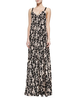 Thakoon Addition Printed Maxi Dress W/ Braided Straps