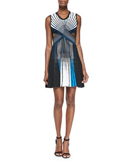 Ohne Titel Striped Pleated Cutout Dress
