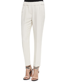 Brunello Cucinelli Crepe Pull-On Pants