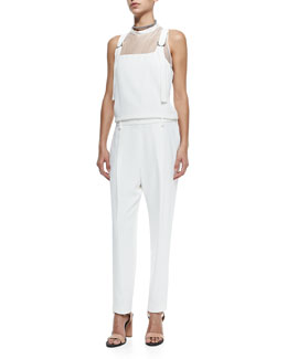 Brunello Cucinelli Sleeveless Silk Overalls Jumpsuit