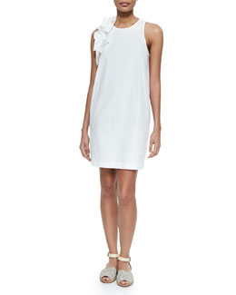 Brunello Cucinelli Sleeveless Poplin Dress w/Ruffle Trim, White