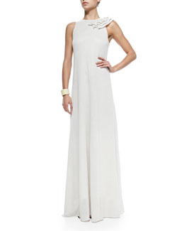 Brunello Cucinelli Paillette Gown W/ Shoulder Ruffle