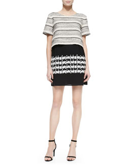 Thakoon Addition Short-Sleeve Combo Double-Layer Dress