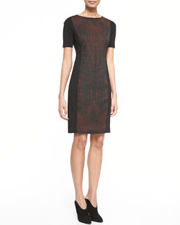 Elie Tahari Kylie Short-Sleeve Dress with Printed Front