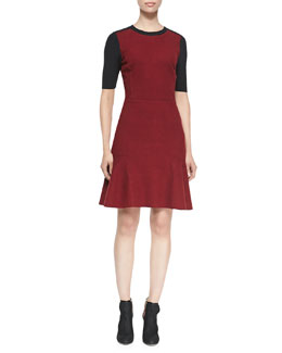 Elie Tahari Linore Colorblock Flounce Dress
