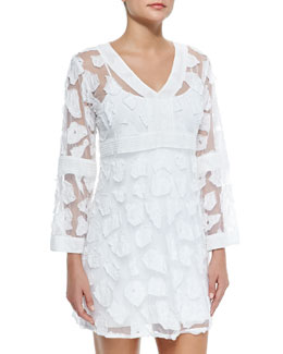 Letarte Long-Sleeve Mesh/Applique Coverup