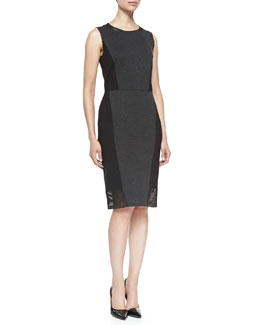 Elie Tahari Laci Sleeveless Dress W/ Jersey Borders