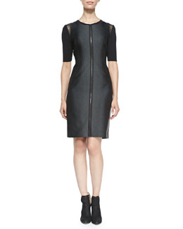 Elie Tahari Frankie Zip-Front Dress W/ Mesh Shoulders