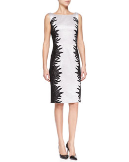 Carmen Marc Valvo Sleeveless Side-Print Two-Tone Cocktail Dress