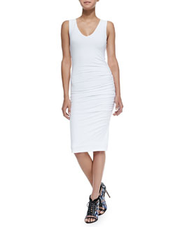 Alice + Olivia V-Neck Ruched Jersey Dress