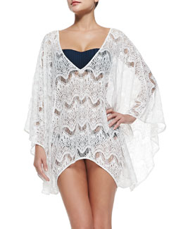 Alice + Olivia Violet Sheer Lace Arched Coverup