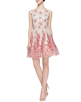 Alice + Olivia Fila Lace-Overlay Full-Skirt Dress