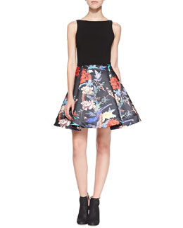 Alice + Olivia Amabel Floral Box-Pleat Dress