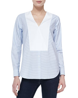 Theory Suejia C. Fine-Stripe Top W/ Bib Accent