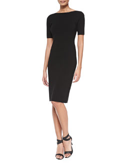 Theory Narlissa Prosecco Half-Sleeve Dress W/ Cutout Back