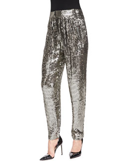 Alice + Olivia Sequined Trousers W/ Gathered Waist