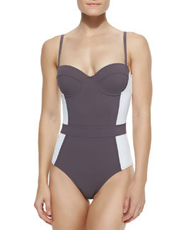 Tory Burch Lipsi Colorblock One-Piece Swimsuit