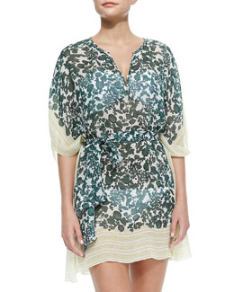 Tory Burch Issy Colorblock Vine-Print Caftan Coverup