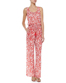Tory Burch Issy Sleeveless Botanical-Print Jumpsuit